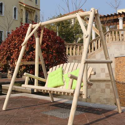 户外阳台室外秋千椅小孩成人庭院吊椅实木家用双人荡秋千欧式摇椅