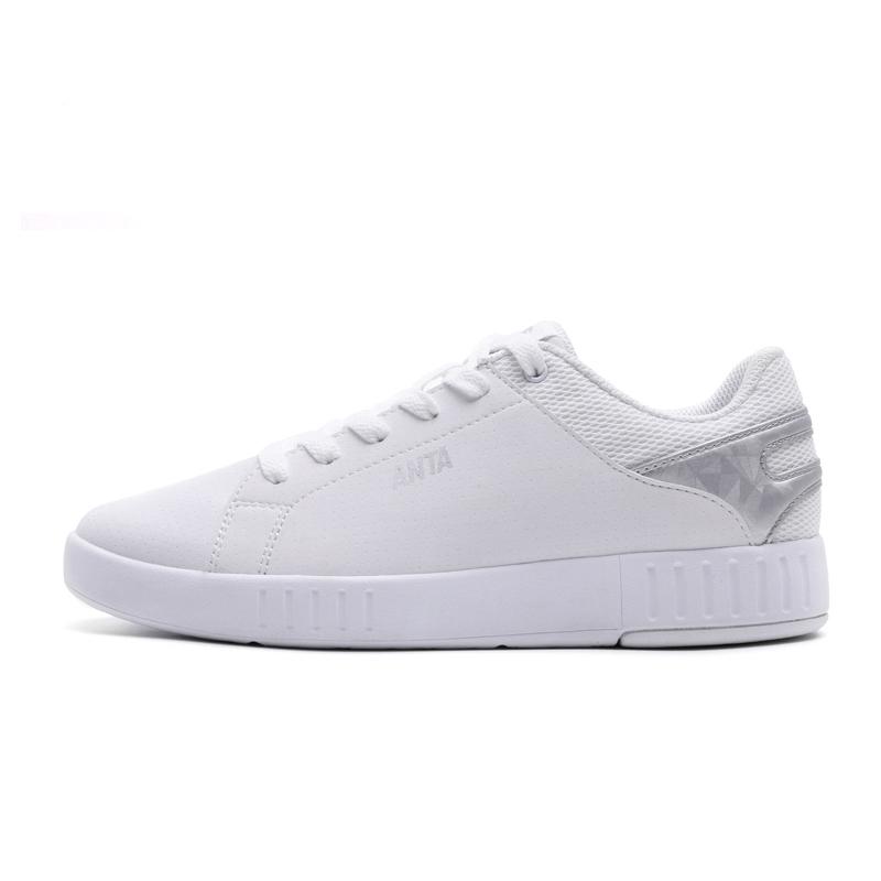 安踏女鞋休闲板鞋小白鞋2017夏新款透气轻便休闲鞋运动鞋12728016
