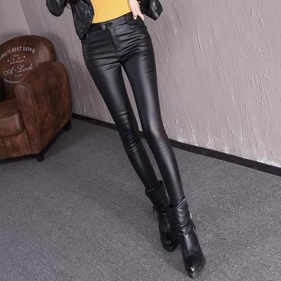 皮裤春秋冬季新款高腰弹力修身显瘦外穿加绒磨砂亚光紧身打底裤女