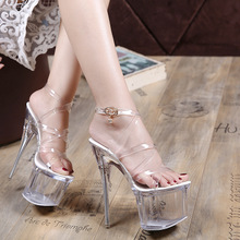水晶公主鞋18cm公分恨天高绑带夜场女鞋超高跟一字扣细跟凉鞋透明