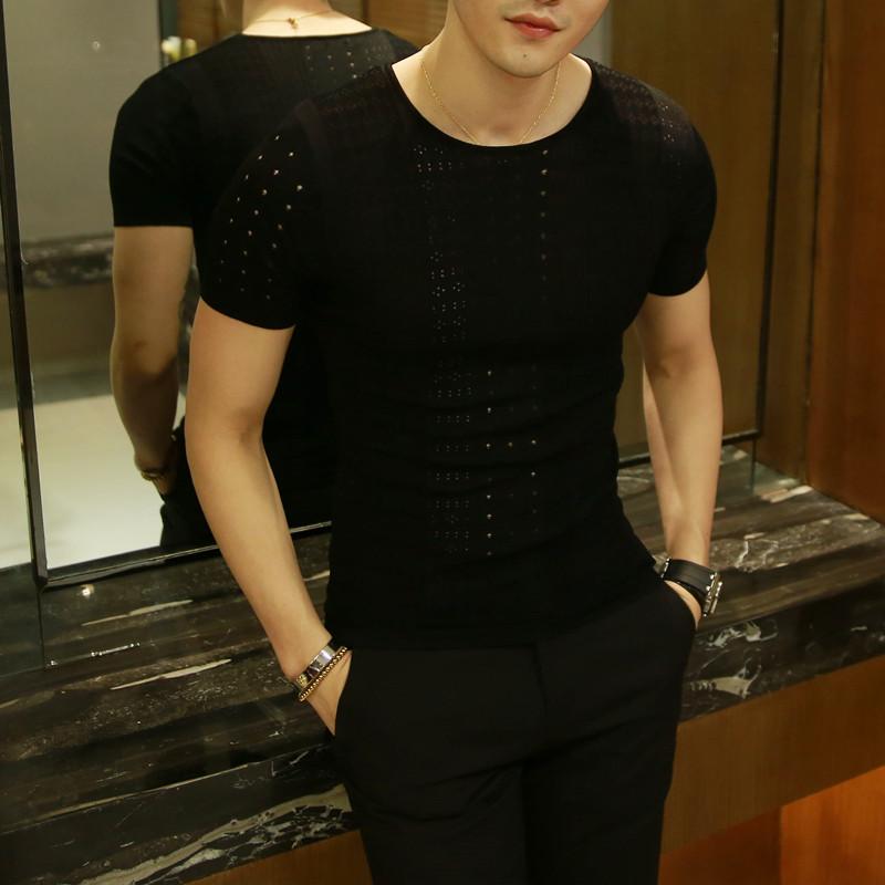 夏季男士短袖缕空针织衫圆领修身型男装韩版冰丝薄款体恤潮流毛衣