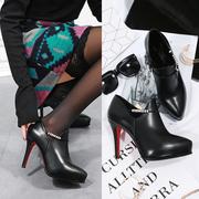 毅雅2018新款短靴女单靴高跟马丁靴细跟侧拉链裸靴潮女单鞋