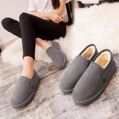 反季促销冬季厚底雪地靴平底短靴加绒加厚保暖纯色棉鞋一脚蹬女鞋