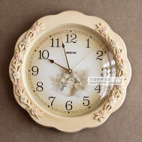 田园欧式创意钟表客厅家用时钟现代简约挂钟圆形石英钟静音卧室钟