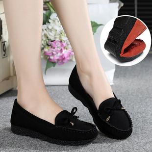 春季老北京布鞋女鞋平跟平底單鞋休閑工作鞋孕婦媽媽鞋豆豆鞋子女