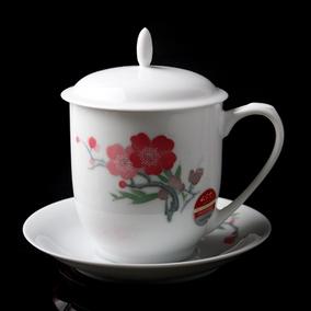 红官窑手绘釉下彩7501 梅花毛瓷杯碟 礼盒装陶瓷茶杯带盖 薄胎