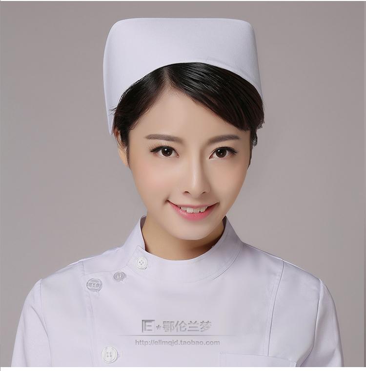 護士帽白色藍色粉色護士帽加杠加厚男女醫生帽圓帽抗皺燕尾帽包郵