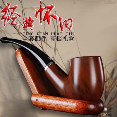 SANDA经典怀旧入门复古老式过滤烟斗烟丝斗弯式手工自由式送配件