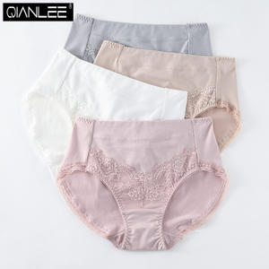 966946a1a9d 4 middle waist high waist ladies underwear cotton trousers modal cotton  fabric lace side solid color
