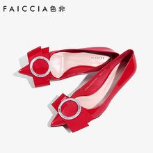 色非新款女鞋时尚尖头小皮鞋蝴蝶结高跟鞋水钻单鞋C287P图片