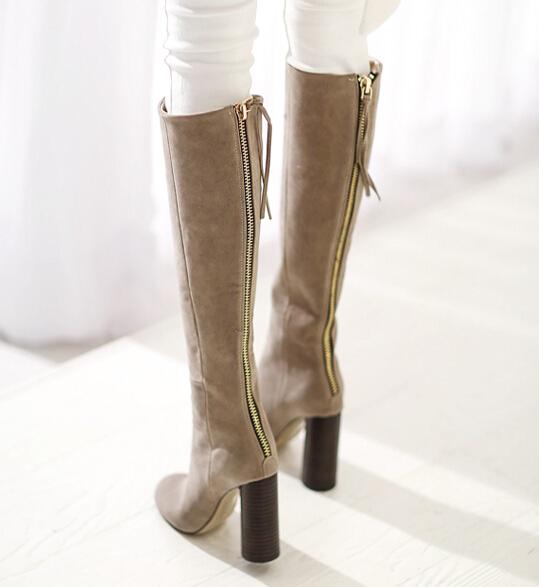 韩国女鞋欧美显瘦骑士靴 圆头后拉链高筒靴 长靴流苏