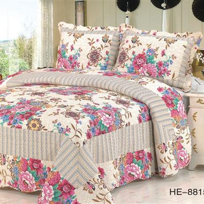 美式绗缝被纯棉双人加棉床盖三件套加厚夹棉全棉床单欧式床罩韩式