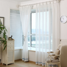 韩式美式纱帘条纹白色棉麻窗帘窗纱定制阳台卧室飘窗窗帘成品窗纱