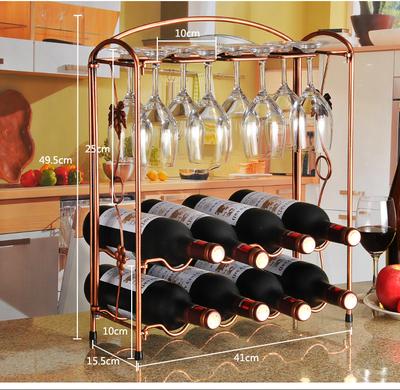 欧式创意红酒架摆件复古铁艺葡萄酒架子酒杯架挂杯架时尚红酒瓶架