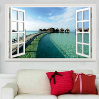 墙纸墙面3D立体假窗户自粘墙贴装饰贴画贴纸客厅大海风景画壁纸画