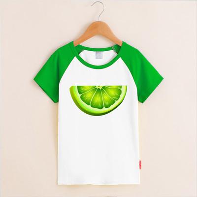 夏日小清新水果青柠檬片T恤校园少女装幽默撞色插肩学生短袖纯棉T
