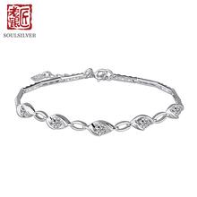 老银匠女士日韩版时尚创意925银仿钻银手链甜美礼物送女友银手链图片