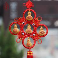 天然手捻文玩小葫芦带中国结烙画雕刻大葫芦挂件风水家居饰品年货