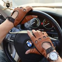 罗欧蒂斯新款秋冬手套男士半指手套鹿皮复古手套哈雷摩托车皮手套