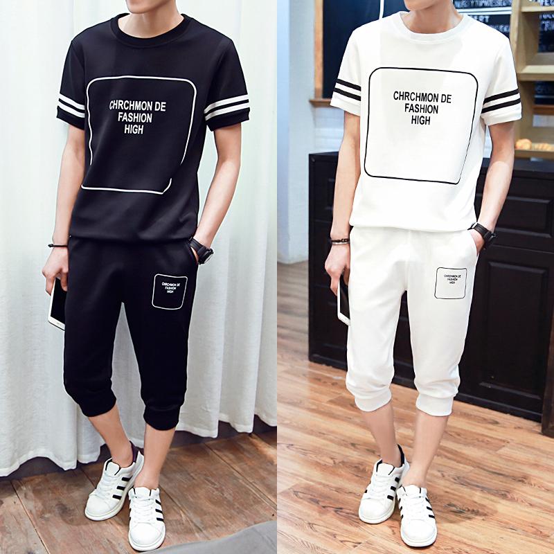 青少年运动套装男夏短袖七分裤