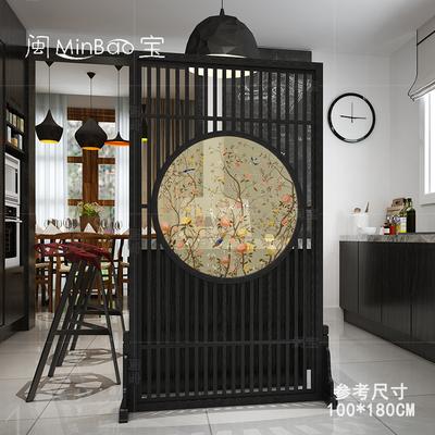 中式客厅明清古典实木复古办公花鸟隔断屏风半透风水玄关卧室座屏