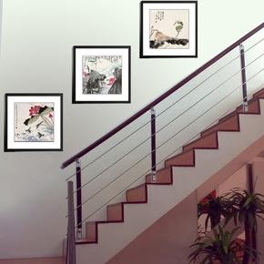 家居饰品水墨画现代装饰画客厅有框壁画楼梯间挂画墙画 咏树赋荷