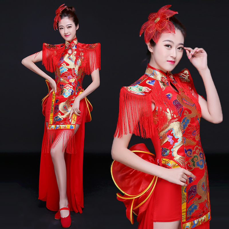 New Chinese style folk dance drums costumes classical dance costumes female modern cheongsam