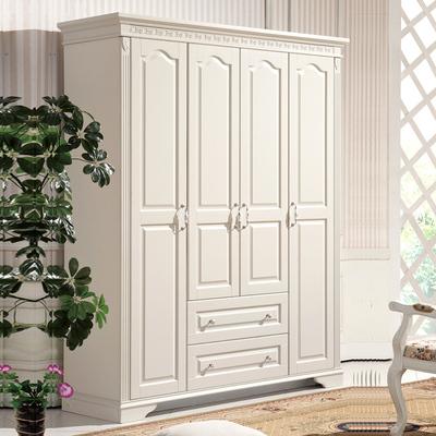 简约现代韩式家具卧室储物大衣柜带抽屉象牙白实木经济型组装衣柜