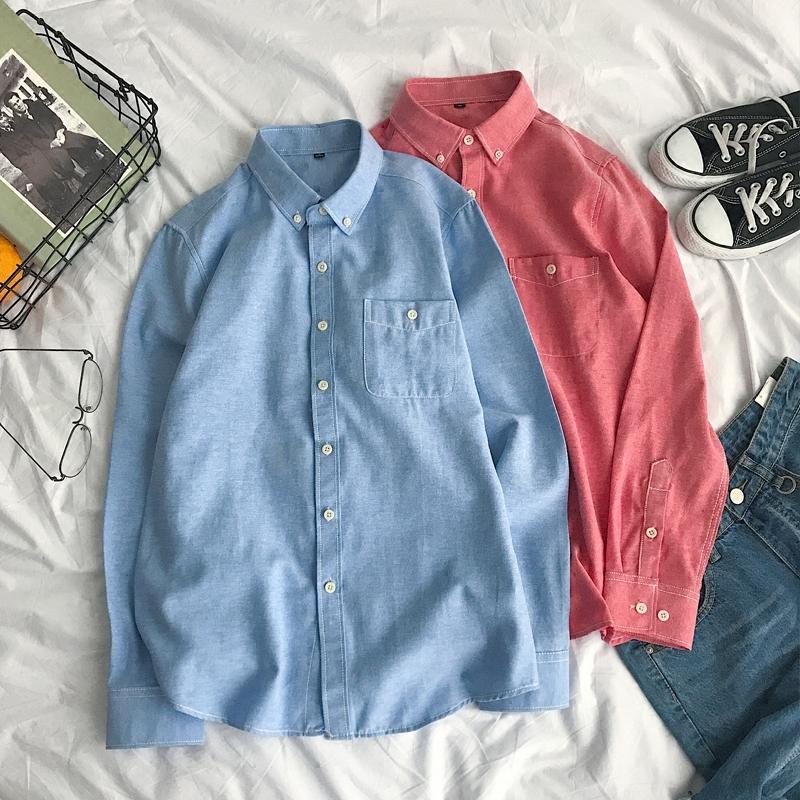 男士长袖衬衫加绒加厚休闲修身打底白衬衣春秋冬季韩版学生潮装寸