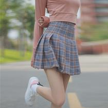 韩版春装女装小清新格子半身裙高腰百褶裙显瘦夏季学生A字裙短裙
