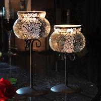 2只包邮欧式铁艺玻璃马赛克高脚香薰蜡烛台杯西餐少女心烛光晚餐