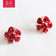 新款红色玫瑰新娘耳夹针款耳环结婚耳饰无耳洞礼服中式古装配饰品