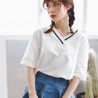 短袖T恤女夏装2018新款宽松韩版学生白色V领半袖女百搭打底衫上衣