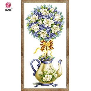 彩珠绣全珠绣陶瓷绣鲜花茶壶淡雅珠绣十字绣客厅卧室简单静物花卉