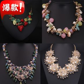 6fdcc445b42a46 Europe and the United States big luxury jewel short clavicle necklace  fashion queen fan exaggerated gift