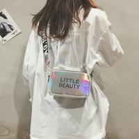 夏季小包包女2018新款韩版ins百搭斜挎包宽肩带镭射小方包单肩包