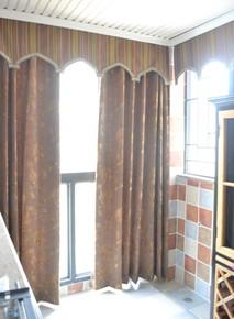 高档美式古典提花条纹布现代中式宽幅窗帘客厅咖色米色绣花纱