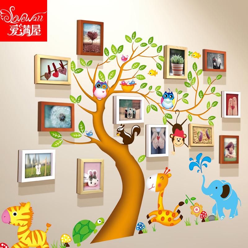 12框7寸实木相框墙儿童房幼儿园装饰相片墙创意创意宝宝照片墙贴3元优惠券