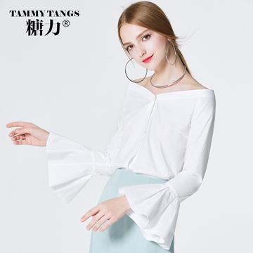 糖力春秋装新款欧美女装白色露肩一字领荷叶袖衬衫时尚衬衣上衣