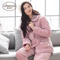 冬季睡衣女款加厚三层夹棉袄珊瑚绒冬天法兰绒套装加绒保暖家居服