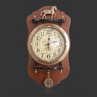 欧式挂钟客厅豪华个性纯铜摇摆钟大号复古创意钟表田园石英钟