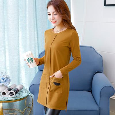 2018秋季韩版中长款长袖女士上衣打底衫修身显瘦纯色棉t恤体恤新