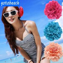 波西米亚仿真牡丹花日系花朵头饰品搭配饰品比基尼泳装头花胸花女
