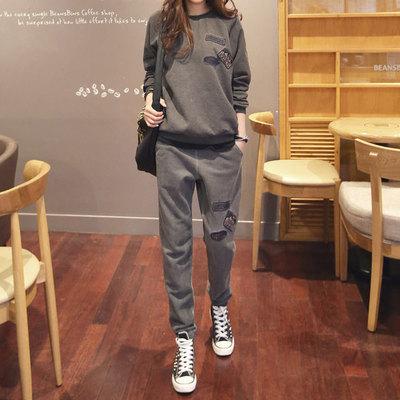 2018冬装新款 韩版宽松休闲跑步运动套装 两件套卫衣套装 女大码