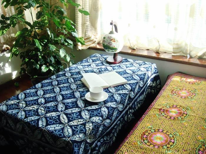 云南大理纯手工精品扎染茶几餐桌装饰布—元宝花(195×145CM)