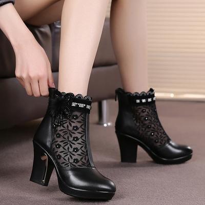 真皮女春秋靴镂空网靴高跟鞋短靴女鞋单鞋单靴女靴马丁靴及裸靴