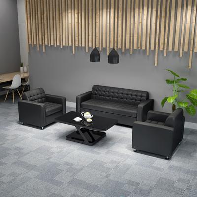 辦公沙發茶幾組合現代小型沙發商務接待室辦公室真皮三人位沙發雙十二