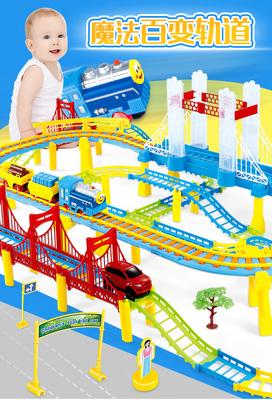 托马斯小火车轨道儿童玩具套装 带音乐双层轨道男孩拼装电动玩具