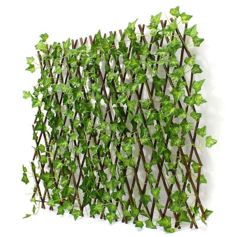 Wooden Garden Fence Extension-type Artificial Green Leaf Bra