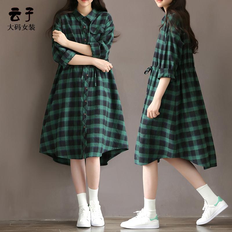 格子大码连衣裙